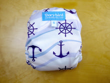 Load image into Gallery viewer, Rhode Island Sailing Serenity -Nautical Anchor AIO cloth diaper- Small Chickadee Cloth Diaper (10-17 lbs.) -modern cloth nappy- all in one -boat beach ocean -bamboo hemp