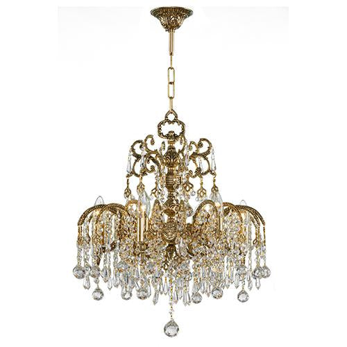 Asfour Crystal - Royal Chandelier - 6 Bulbs - Gold Oxide - Ball & Drop  Clear