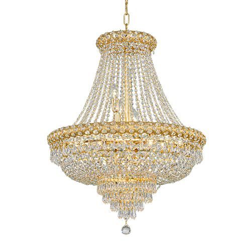 Asfour Crystal - Empire Chandelier - 15 Bulbs - Gold - Pendeloque & Octagon Clear Clear
