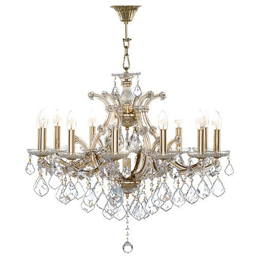 Asfour Crystal - Maria Theresa Chandelier - 13 Bulbs - Gold - Pendeloque Clear