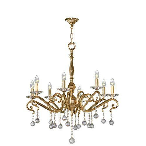 Asfour Crystal - Majestic Chandelier - 8 Bulbs - Gold - Bearish Clear