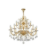 Asfour Crystal - Majestic Chandelier - 18 Bulbs - Gold - Drop Clear