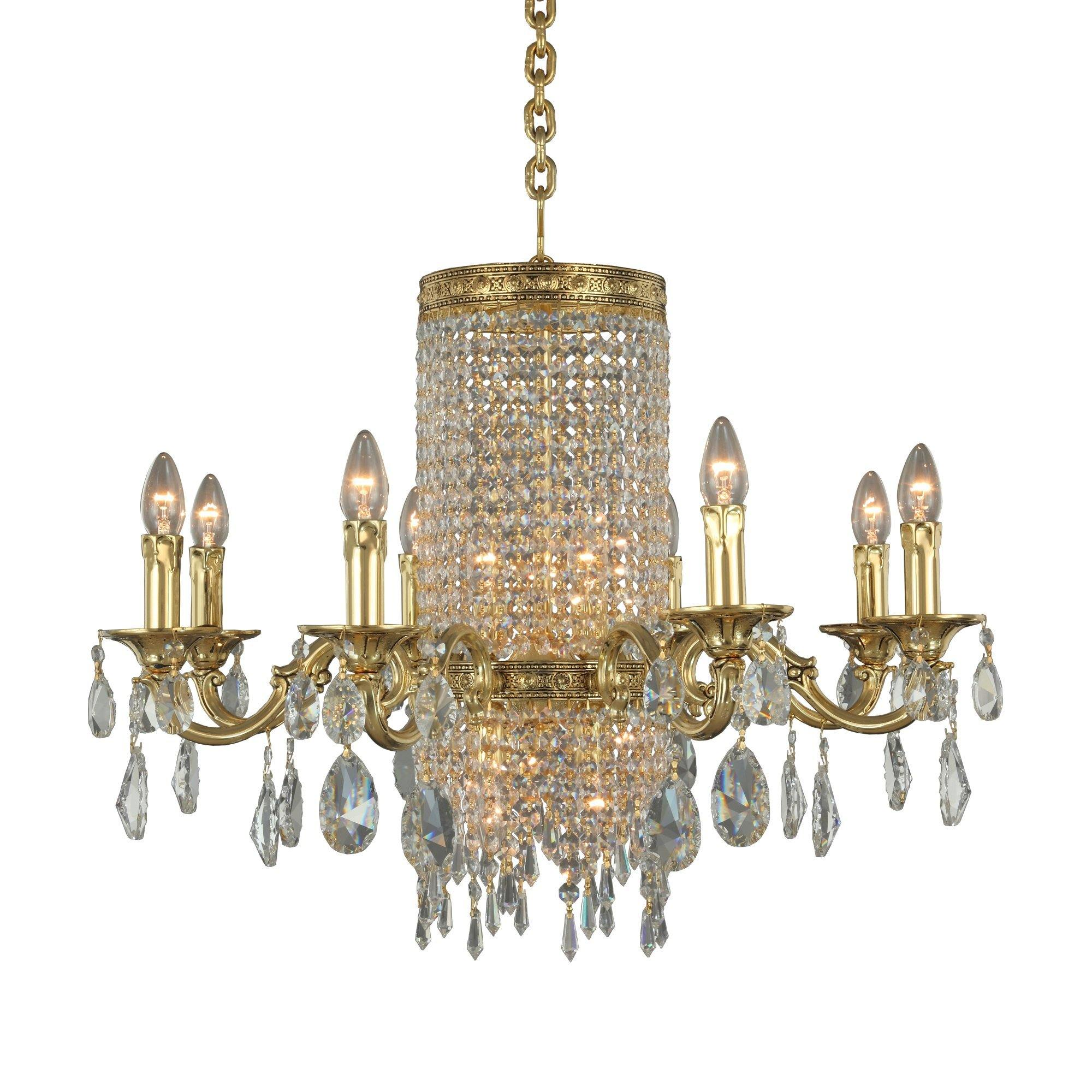 Asfour Crystal - Brass Chandelier - Chandelier - Gold Ox. - Pendeloque