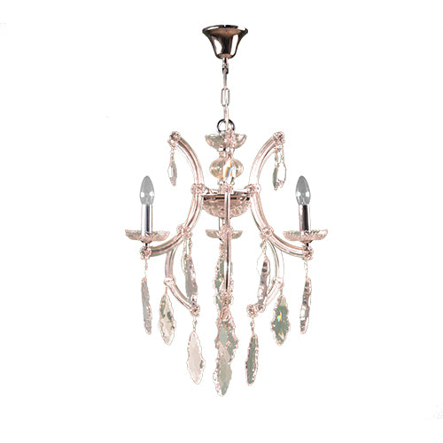 TIARA Chandelier - 3 Bulbs - Chrome Comb - Gold