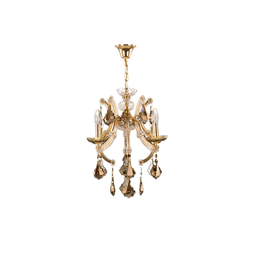 TIARA - 4 Bulbs - Chandelier golden lacquer - honey comb - Gold