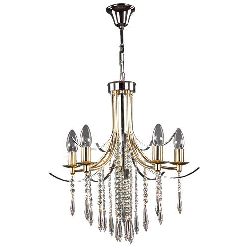 TIARA - 5 Bulbs - Gold & Chrome