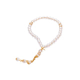 Rosary - Clear  - Gold Separator -  Small Bead