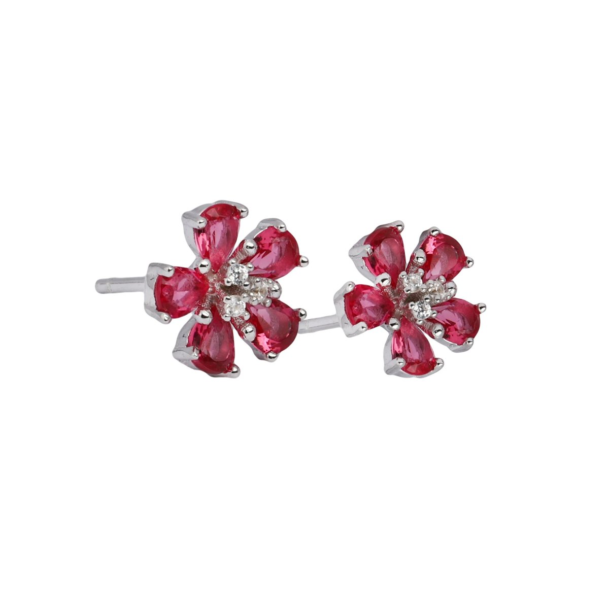 Earring E1002-R - 925 Sterling Silver - Rose Flower