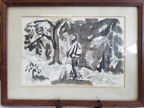 "Walking, signed by James Oliver, Lithograph 26"" x 18"""
