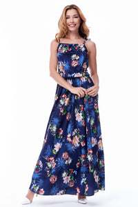 Long Navy Floral Dress