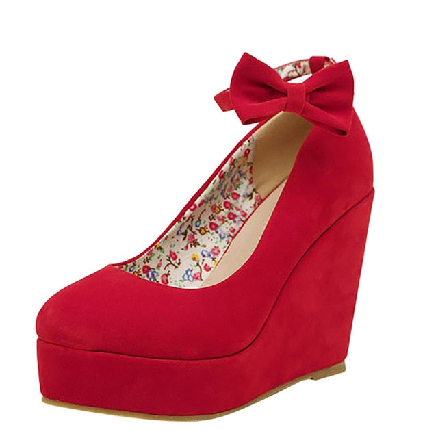Round Toe Platform High Heel Wedges