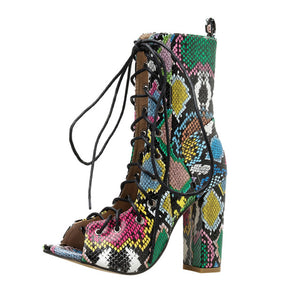 Snake Grain Roman Lace Up Multicolor High Heel Boots