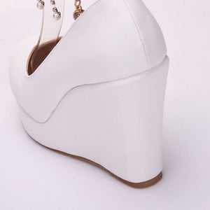 Elegant White High Heel Platform Wedges