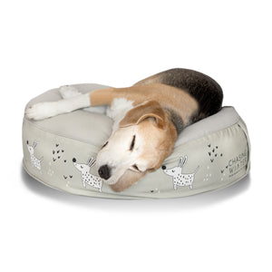 Snoozy Hound Calming Dog Bed | Whippet Grey | MEDIUM