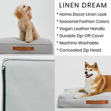 Load image into Gallery viewer, Linen Dream Dog Bed | Fog Grey | LARGE