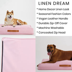 Linen Dream Dog Bed | Peony Pink | LARGE