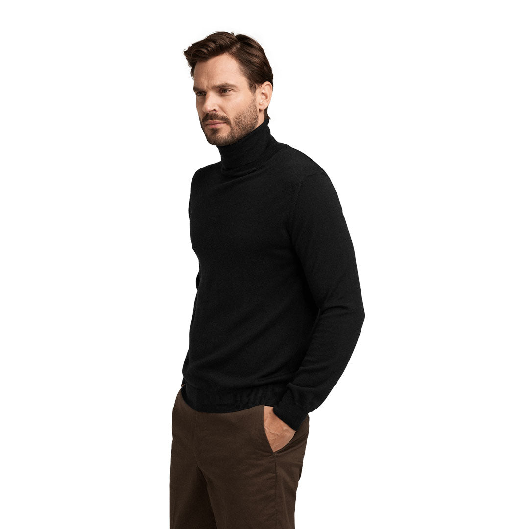 No.05 – Merino Roll Neck – Pitch Black