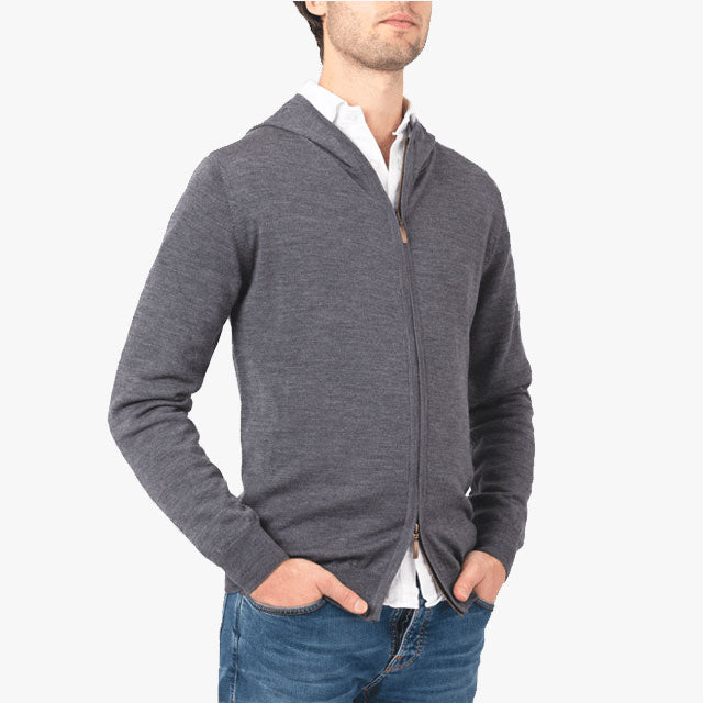 No.08 - Merino Zip Hoodie - Darkened Grey
