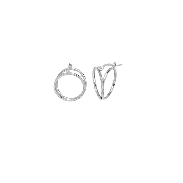 Adriana: Double Hoops, in 14 KT Weißgold