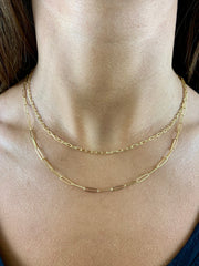 Carla: Halskette, Paperclip, 14 KT Gelbgold