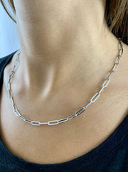 Carla: Halskette, Paperclip, 925 Sterling Silber