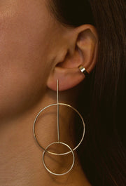 Winona: Ohrring, Double-Circle, 14 KT Gelbgold