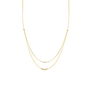 Chloe: Halskette, Double Layer, 14 KT Gelbgold, Diamanten