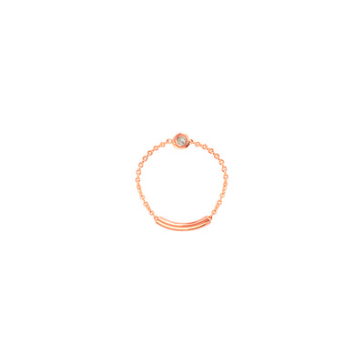 Elllie: Chain-Ring, 14 KT Gelbgold, Diamant