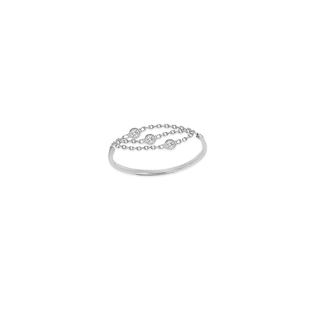 Sally: Dreifach-Chain Ring, 14 KT Gold, drei Diamanten