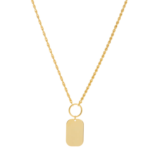 Selena: Halskette, Rope Chain, Tag Charm, personalisierbar, 14 KT Gelbgold