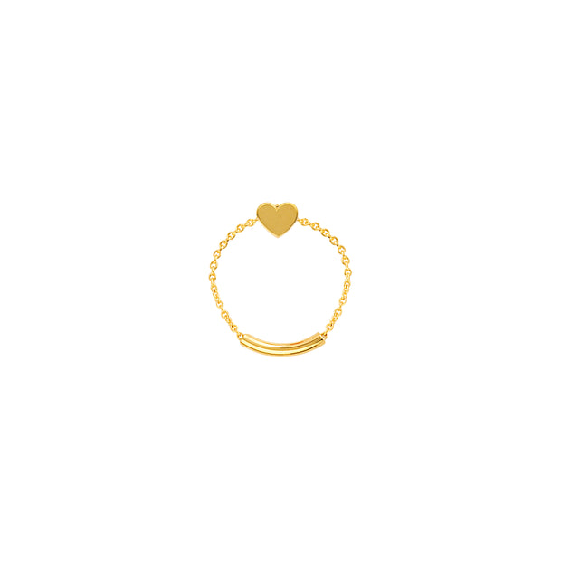 Sweetheart: Chain Ring, Herz, 14 KT Gelbgold
