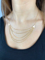 Waterfall: Halskette, Hammered Chains, 14 KT Gelbgold