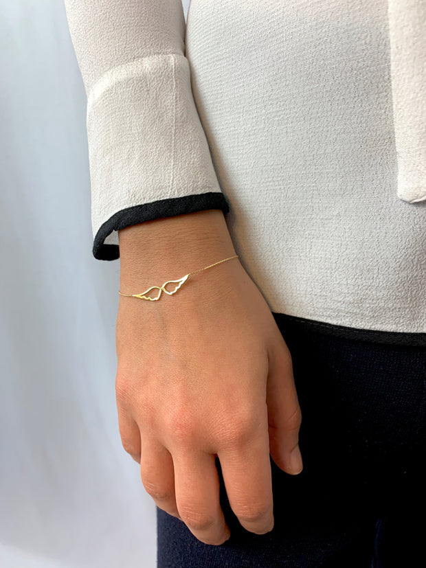 Wings: Armband, Flügel, 14 KT Gelbgold