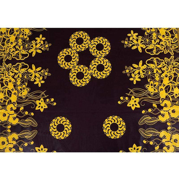 Afrilace 100% COTTON AFRICAN FLOWER PATTERN ETHNIC STYLE PRINT FABRIC(6 Yards)