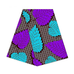 afrilace 100% COTTON AFRICAN WAX FABRIC PURPLE AND BLUE LEAF PATTERN AFRICAN COTTON WAX PRINT FABRIC(6 Yards)