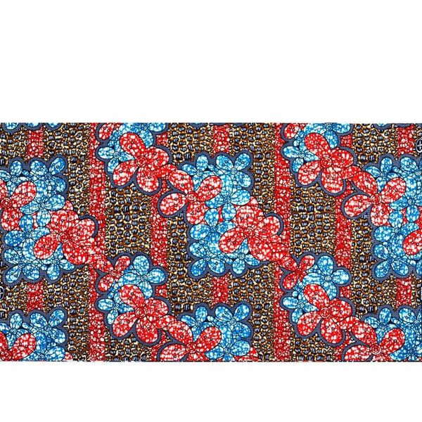 afrilace 100% COTTON AFRICAN WAX FABRIC RED AND BLUE LEAF PATTERN AFRICAN COTTON WAX PRINT FABRIC(6 Yards)