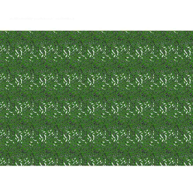 afrilace 100% COTTON GREEN LEAF PATTERN AFRICAN PRINT FABRIC(6 Yards)