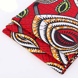 afrilace 100% COTTON RED FABRIC AFRICAN PRINT FABRIC FOR WEDDING DRESS(6 Yards)