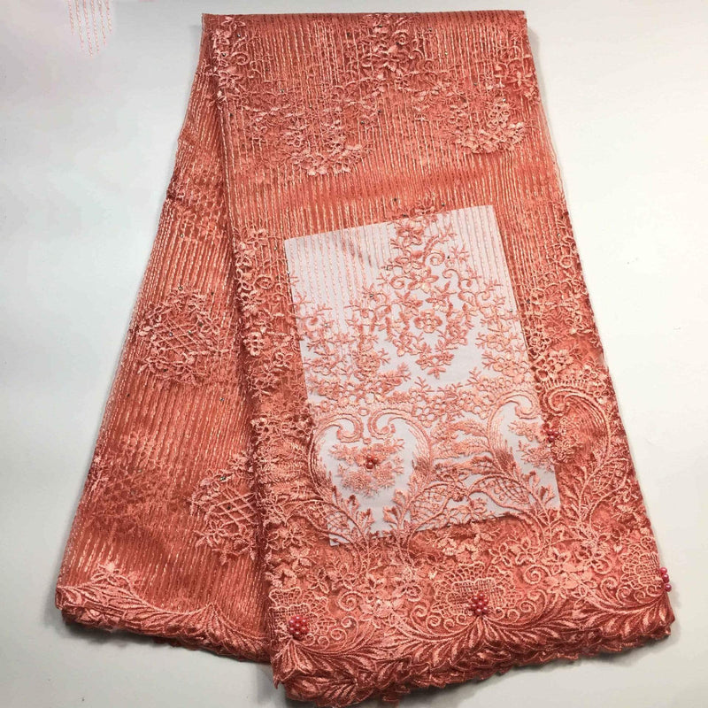 afrilace AFRICAN BEADED LACE FABRIC HIGH QUALITY LACE FABRIC FOR WEDDINGS NIGERIAN TULLE MESH LACE FABRIC(5 Yards)