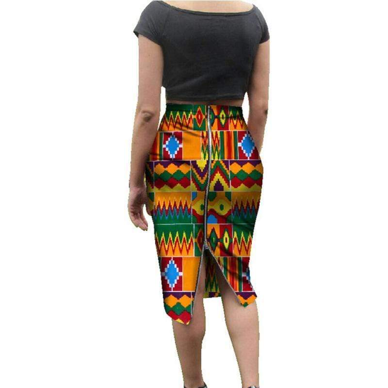 Afrilace AFRICAN COTTON FABRIC ETHNIC STYLE AFRICAN PRINT FABRIC SKIRT