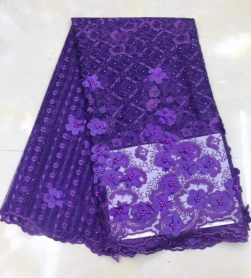 afrilace AFRICAN FRENCH LACE FABRIC HIGH QUALITY AFRICAN TULLE LACE FABRIC(5 Yards)