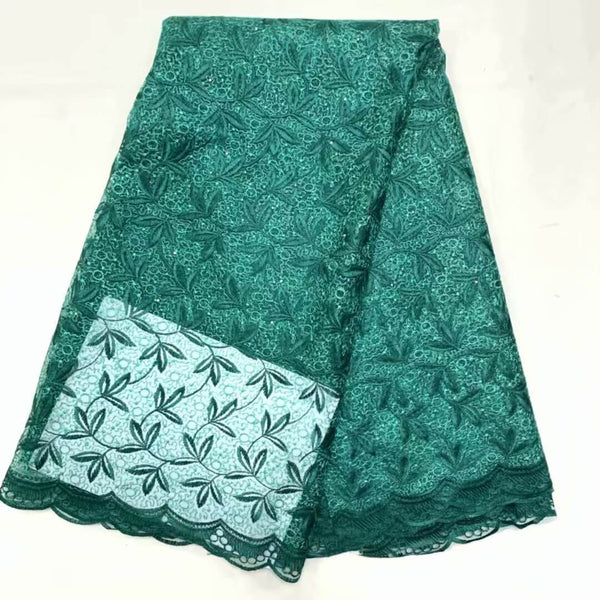 Afrilace AFRICAN LACE FABRIC LEAF PATTERN LACE FABRIC(5 Yards)