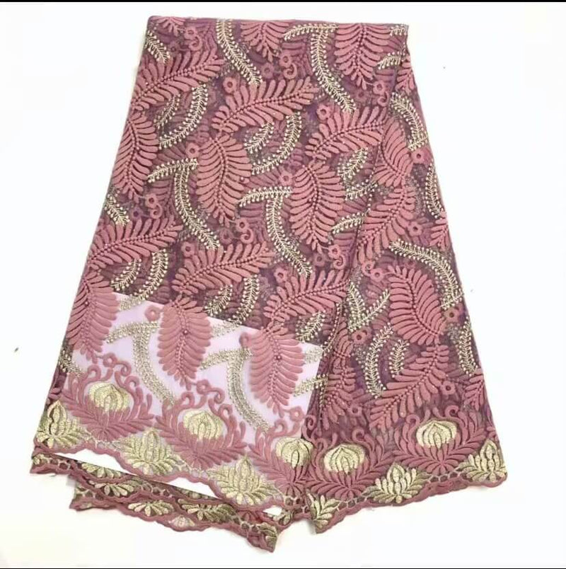 Afrilace AFRICAN LACE FABRIC LEAF PATTERN SWISS LACE EMBROIDERED FABRIC(5 Yards)