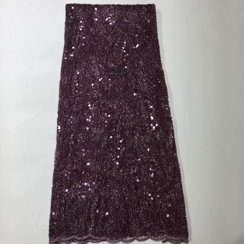 Afrilace AFRICAN LACE FABRIC SOLID COLOR SEQUINS FABRIC(5 Yards)