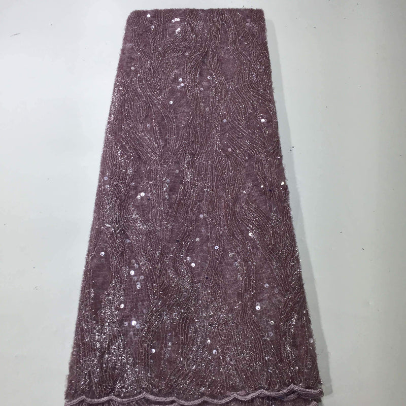 AFRICAN LACE FABRIC SOLID COLOR SEQUINS FABRIC(5 Yards)