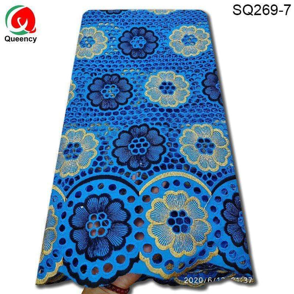 Afrilace African Lace Nigerian Lace Circle Flower Pattern Hollow Cotton Lace Fabric (5Yards)