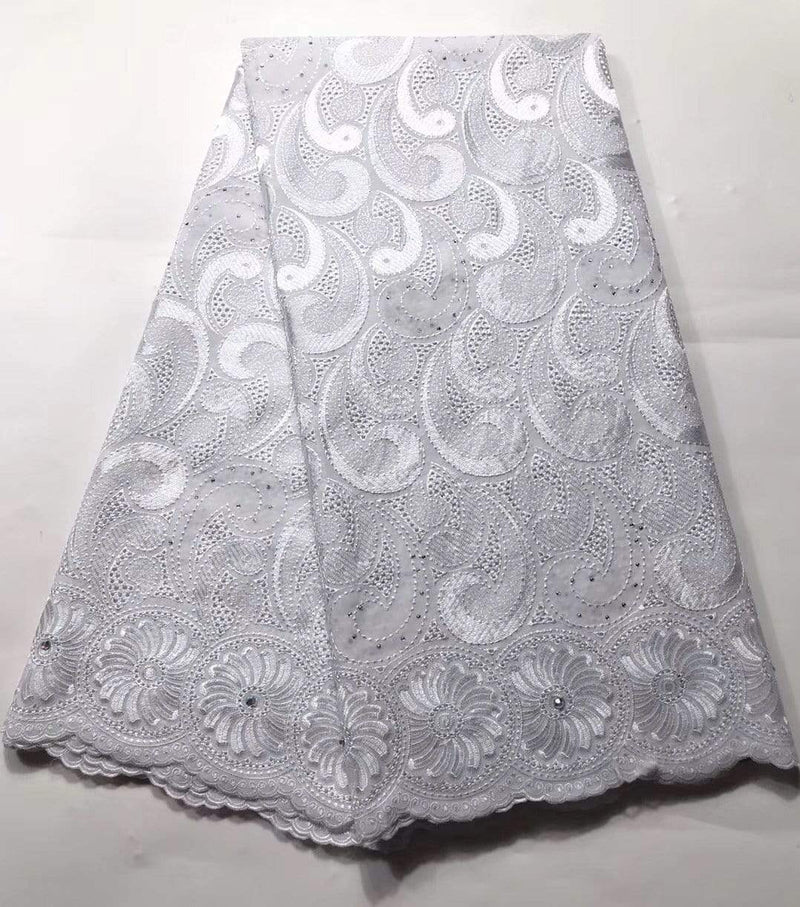 Afrilace AFRICAN LACE SWISS VOILE LACE 100% COTTON EMBROIDERED LACE FABRIC (5 Yards)