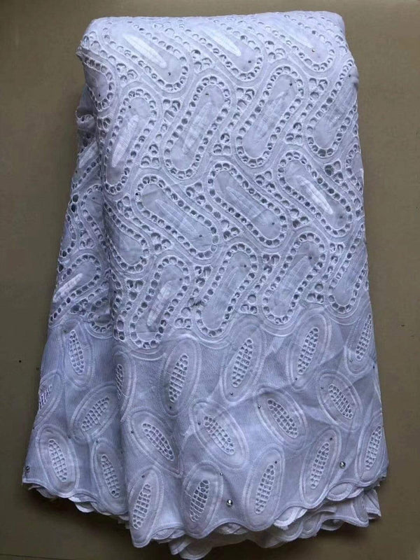 afrilace AFRICAN NIGERIAN DRY LACE FABRIC SWISS VOILE LACE COTTON FABRIC(5 Yards)
