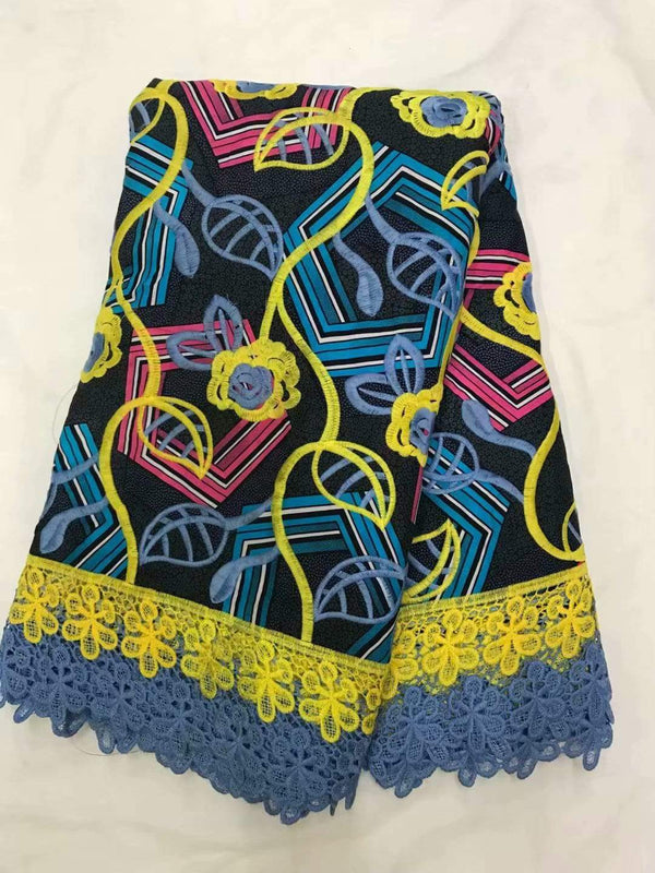Afrilace AFRICAN WAX PRINT LACE FABRIC ALL IN ONE 57 DESIGNs (5 Yards)