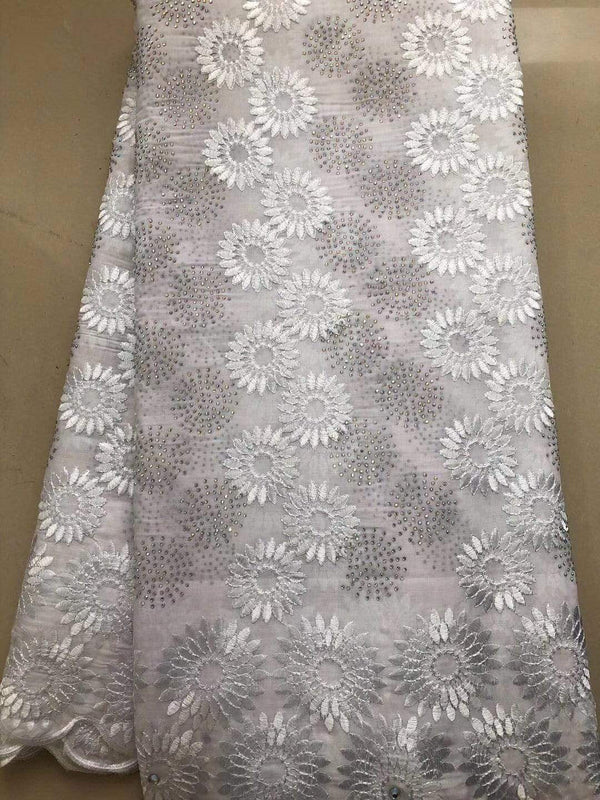 afrilace EMBROIDERED COTTON AFRICAN LACE FABRIC COTTON SWISS VOILE LACE(5 Yards)
